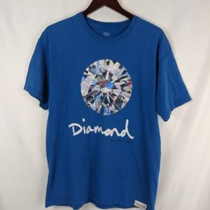Diamond supply Co diamond t shirt blue men's large